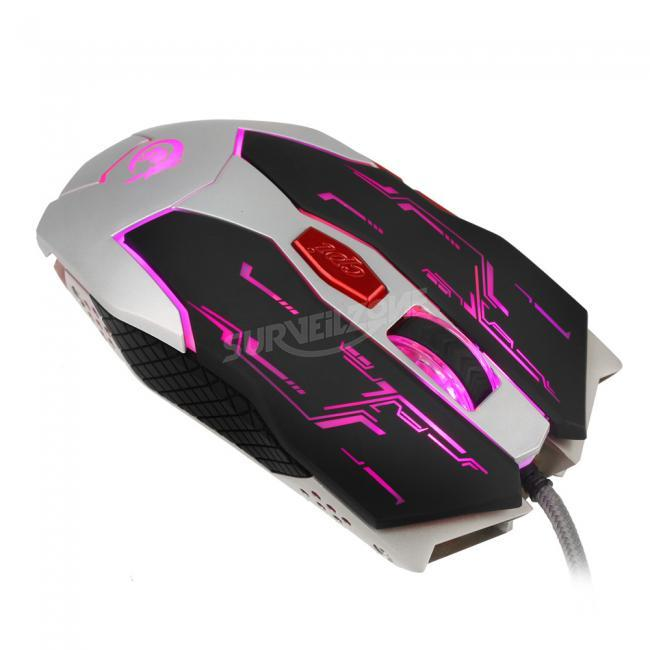 HXSJ X100 2500DPI 6 Buttons USB Wired Optical Cooling LED Backlit Gaming Mouse