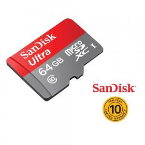 SanDisk Ultra microSDXC UHS-I Card With Adapter, 64GB, Transfer Speed Up to 80MB/s, Made in Taiwan