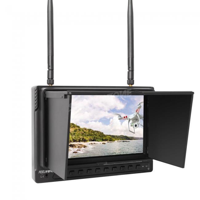 5.8G 32ch 7 Inch High Brightness FPV Monitor HD 1024*600 Snow Screen Inbuilt DVR and Battery