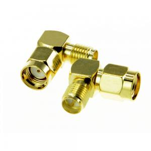 2pcs RP SMA Plug to RP SMA Jack Right Angle Adapter for Antenna