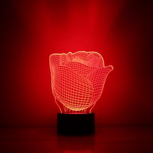 Rose Design Night Light Remote Control Touch Tone