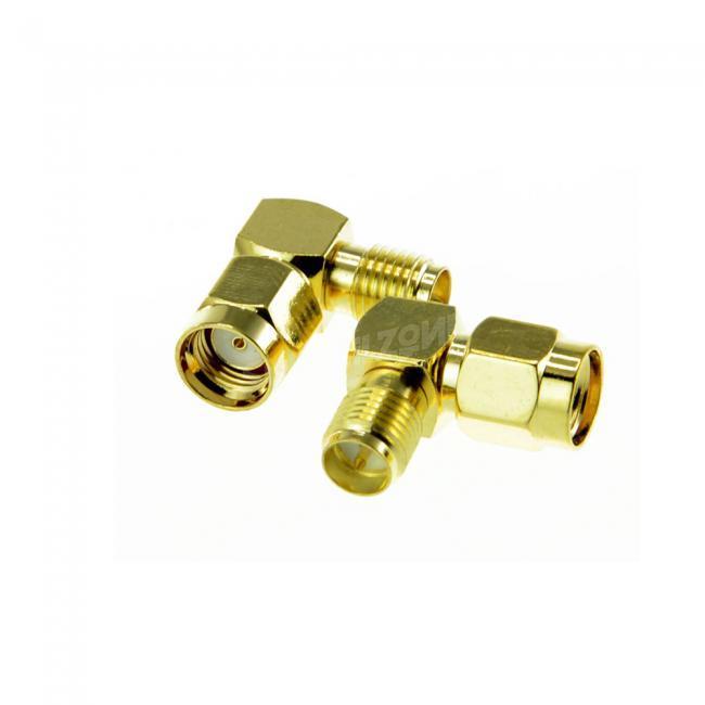 2pcs RP SMA Plug to RP SMA Jack Right Angle Adapter for Antenna